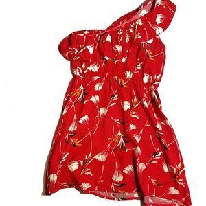 MINKPINK Red Floral One Shoulder Dress